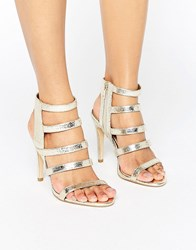 New Look Metallic Strappy Heeled Sandal Gold