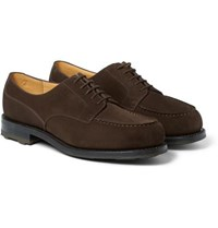 J.M. Weston Goodyear Welted Suede Derby Shoes Dark Brown