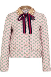 Gucci For Net A Porter Leather Trimmed Jacquard Jacket Pastel Pink