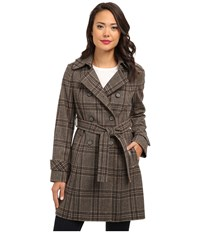 Dkny Double Breasted Menswear Plaid Trench Coat 93809 Y4 Brown Multi Women's Coat