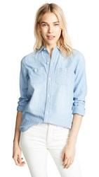 Madewell Chambray Classic Ex Bf Button Down Shirt Evie Wash