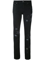 Red Valentino Star Embroidered Jeans Women Cotton Spandex Elastane 28 Black