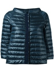 Herno Collarless Down Jacket Blue