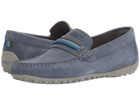 Geox M Snake Moc 14 Light Navy Men's Slip On Shoes Blue