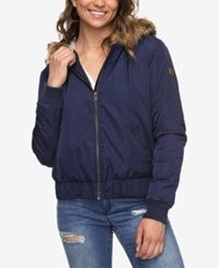 Roxy Juniors' Faux Fur Trim Waterproof Jacket Dark Blue