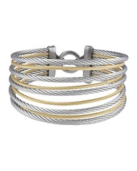 Alor Gray And Yellow Stacked Cable Bangle Gray Gold