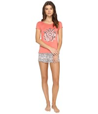 Lucky Brand Graphics Tee Jay Sylvia Paisley Border Faced Rose Women's Pajama Sets Gray
