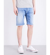 Replay Anbass Mid Rise Stretch Denim Shorts Light Stone Wash