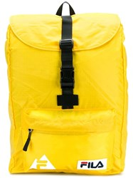 Fila Logo Buckled Backpack Yellow And Orange