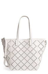 Shiraleah Perforated Faux Leather Tote Grey Stone