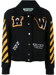 Off White Striped Sleeves Bomber Jacket Black