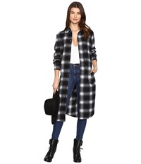 Bb Dakota Rivington Plaid Shirt Coat Black Women's Coat