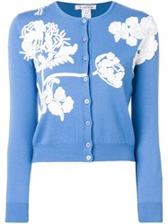 Oscar De La Renta Sequinned Cardigan Blue