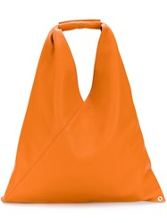 Maison Martin Margiela Mm6 Slouchy Tote Women Calf Leather Polyester One Size Yellow Orange
