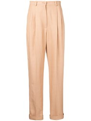 Alberta Ferretti Tapered High Rise Trousers Neutrals