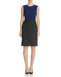 Elie Tahari Emory Color Block Sheath Dress Grey Cobalt