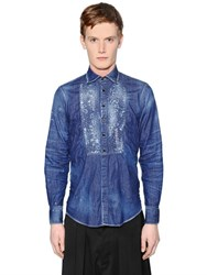 Dsquared Stitched Plastron Stretch Denim Shirt