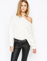 Daisy Street High Low Slouchy Rib Knit Sweater Cream