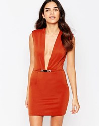 Rare Bodycon Dress With Deep Plunge Rust Red