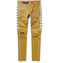 Undercover Skinny Fit Printed Leather Biker Trousers Yellow