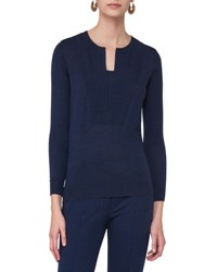 Akris Punto Long Sleeve Split Neck Sweater Navy