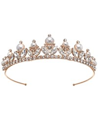 Jewel Badgley Mischka Rose Gold Tone Crystal And Imitation Pearl Tiara