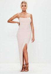 Missguided Baby Pink Cami Strap Thigh Split Maxi Dress