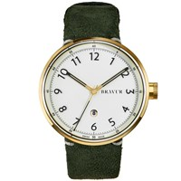 Bravur Watches Gold Case And White Dial With Black Numerals Olive Green Suede Strap White Gold Green