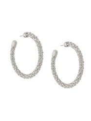 Ca And Lou Embellished Hoops Silver