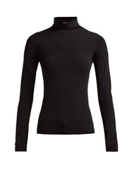 The Row Dronia Roll Neck Jersey Sweater Black