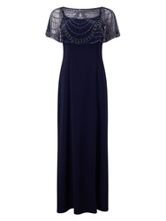 Jacques Vert Jvs Beaded Shawl Maxi Dress Navy