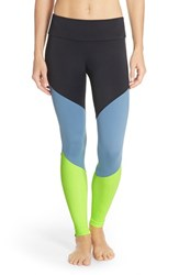 Women's Onzie Colorblock Track Leggings Black Lemon Lime Jean