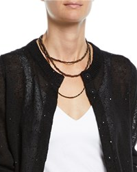 Brunello Cucinelli Mixed Wood And Hematite Long Wrap Necklace Brown