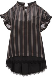 Sacai Ruffled Striped Silk Organza Top Black