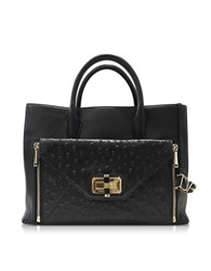 Diane Von Furstenberg Secret Agent Embossed Ostrich Leather Large Tote Black