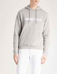 Sandro Printed Cotton Jersey Hoody Mocked Grey