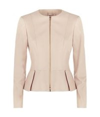 Hugo Boss Sasoon Peplum Leather Jacket Nude