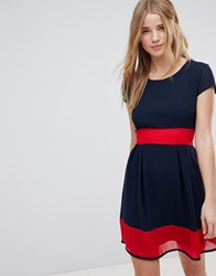 Wal G Skater Dress With Stripe Waistband And Hem Navy Red