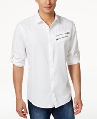 Inc International Concepts Men's Long Sleeve Germain Shirt Only At Macy's White Pure