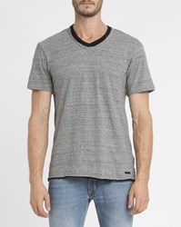 Eleven Paris Mottled Grey Batak Double Collar V Neck T Shirt