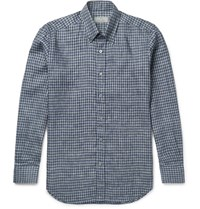 Canali Button Down Collar Checked Linen Shirt Navy