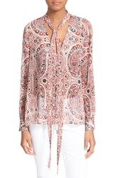 Women's Alice Olivia 'Anabel' Tie Neck Silk Paisley Blouse Bohemian Paisley