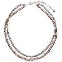 John Lewis Layered Textured Bead Necklace Rose Gold Silver