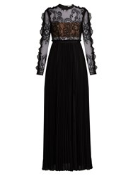 Self Portrait Moni Lace And Pleated Crepe Maxi Dress Black