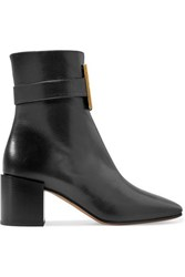 Givenchy Logo Embellished Textured Leather Ankle Boots Black