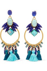 Elizabeth Cole Tasseled Burnished Gold Plated Swarovski Crystal And Glass Stone Earrings Blue