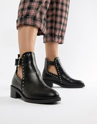 Pimkie Studded Cut Out Buckle Boot Black