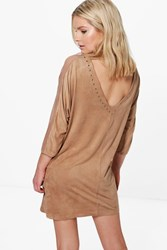 Boohoo Studded Lace Trim Dress Beige