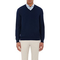 Luciano Barbera Cashmere V Neck Sweater Navy