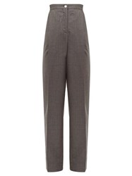 Acne Studios Peggerine Striped Wool Jacquard Tapered Trousers Grey